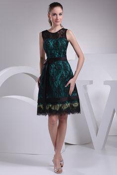 bowknot satin sleeveless lace bateau natural waist mother of the bride dress - Wegodress.com