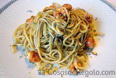 Espaguetis con gambas y gulas al ajillo, una receta espectacular