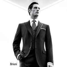 Brioni three-piece...because power isn't always about dressing like the two old men in the balcony on the Muppet Show.