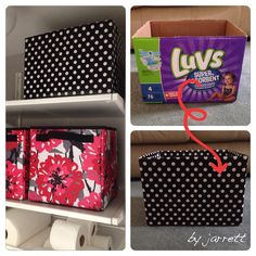 Turn an empty diaper box into a functional storage bin Diaper Box Storage, Diaper Boxes, Diy Storage Boxes, Diy Makeup Storage, Craft Storage, Baby Storage, Formula Can Crafts, Baby Formula Cans, Diy Diapers