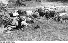 Cretan villagers of Kantomary after being executed by Fallschirmjägger. As many as 10 villagers (children and women included) were executed for each German soldier killed in the vicinity. The reprisals were of wanton cruelty. The village of Anogia, for instance, was emptied of its inhabitants and then razed to the ground as a revenge to the abduction of General Kreipe by members of the British SOE along with Cretans, on April 26, 1944.