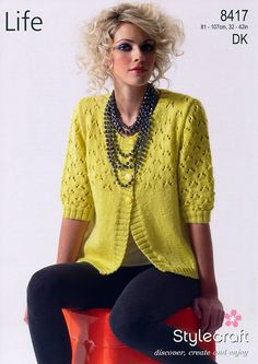 We love the zesty colour of this gorgeous lace cardigan from Stylecraft!