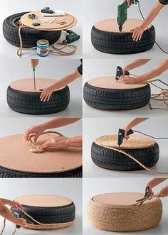 Tire Puff: Models and step by step – # for … – vuche Tire Furniture, Garden Furniture Design, Diy Outdoor Furniture, Outdoor Garden Decor, Wooden Pallet Furniture, Recycled Furniture, Diy Home Crafts, Diy Home Decor, Diy Projects At Home