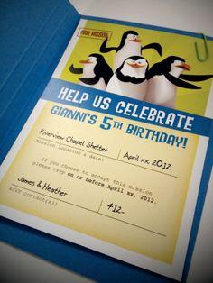 Penguins of Madagascar Birthday Invite by FarmviewDesignStudio, $2.50