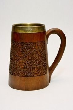 Antique Carved Wooden Mahogany Beer Tankard Stein w Brass Liner Germany or Bali | eBay