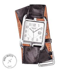 Good objects - Cape cod Hermes Watch #hermes #goodobjects Watercolor illustration