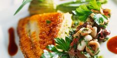 Roasted Turbot + Simmered Squid with Tomato + Stuffed Zucchini Flowers with Eggplant Purée + Basil Pine Nut and Walnut Dressing (sub coconut oil for butter) Potato Rice, Baked Potato, Zucchini Flowers, Healthy Grains, Healthy Sugar, Nut Butter, Chorizo, Eggplant, Coconut Oil