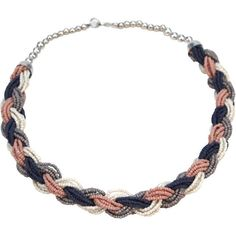 """Multiple strands of coloured beads are neatly twisted to make this bold necklace in pink, grey and white. From the Asha Handicrafts Association, a fair trade artisan group in Mumbai, India that protects makers. Asha has also helped over a thousand students go to university since 2008. No wonder """"Asha"""" means """"hope"""" in Sanskrit. Clasps closed."""