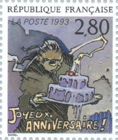 """Happy Birthday"" by Guillaume Sorel.   Republique Francaise stamp printed 1993"