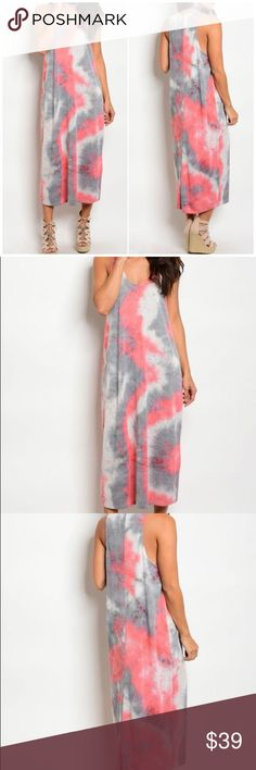"Pink Gray Lightweight Tie Dye Maxi Dress Scoop Neck Sleeveless Tie Dye Lightweight Maxi Dress. Description: Length: 32"" Bust: 34"" Waist: 26"" 100% Polyester Fits true to size Fabfindz Dresses Maxi"