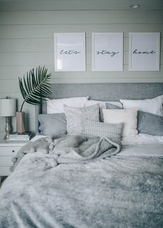 grey, white, cozy, coastal shiplap bedroom decor PRETTY IN THE PINES // a lifest… - bedroom inspirations White Bedroom Decor, Cozy Bedroom, Home Decor Bedroom, Trendy Bedroom, Bedroom Ideas Grey, Coastal Bedrooms, Bedroom Modern, White Bedrooms, Grey Home Decor