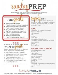 :: visit TheWeighWeWere.com :: Tired of hectic weekdays? With this step-by-step Sunday Prep plan, just a few hours of hustle on the weekend can save you 5 days of stress during the week! By the time you are done, you will have prepared freezer meals for b