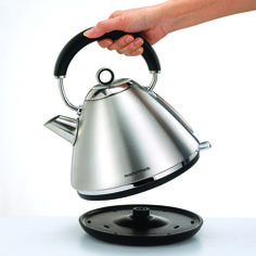 Brushed stainless steel pyramid kettle from Morphy Richards. Add a metallic accent to your kitchen with stylish, smart appliances