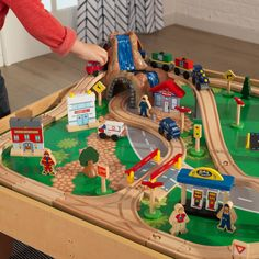 KidKraft Waterfall Mountain Train Set & Table with 120 Accessories Included - Walmart.com - Walmart.com Kids Race Track, Train Set Table, Crane Lift, Wooden Train, Storage Bins, New Toys, Toddler Toys, Cool Toys, Playroom