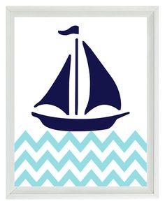Nautical Sailboat Chevron Wall Art Print - Navy Blue Aqua White - Nursery Children Room Home Decor 8x10 print. $15.00, via Etsy.