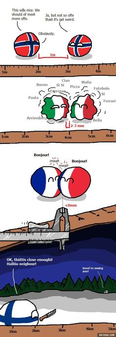 """Personal space"" ( Norway Italy France Finland ) by Hansafan #polandball #countryball #flagball"