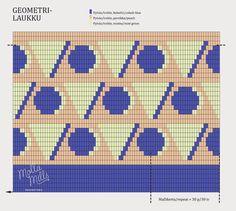 Geometri bag, free pattern, Molla Mills for Suomen Lanka Tapestry Crochet Patterns, Crochet Stitches Patterns, Crochet Chart, Knitting Patterns, Cross Stitch Patterns, Crochet Clutch, Crochet Purses, Crochet Doilies, Modern Crochet
