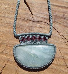 aquamarine macrame necklace,macrame pendant,macrame jewelry,aquamarine pendant,gemstone necklace,cabochon necklace,macrame stone necklace by ARTEAMANOetsy on Etsy