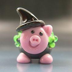 Witch's Pot Bellied Pig Handmade Lampwork Glass Halloween Focal Bead SRA Gelly
