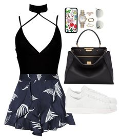 """""""hot ~"""" by ohsnapitzblanca ❤ liked on Polyvore featuring Boohoo, C/MEO COLLECTIVE, adidas Originals, Fendi, Rolex, Miss Selfridge, Made, Ray-Ban, StreetStyle and Summer"""