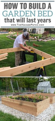How to build raised garden beds that will last for years. An easy step-by-step guide for cedar raised garden beds. garden boxes DIY Raised Garden Beds Tutorial - The Navage Patch Cedar Raised Garden Beds, Building Raised Garden Beds, Raised Vegetable Garden Beds, Raised Bed Gardens, Raised Garden Beds Irrigation, Vegetable Boxes, Cedar Garden, Organic Gardening, Gardening Tips