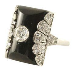 Platinum Onyx and Diamond Cocktail Ring