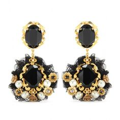 Dolce & Gabbana Crystal Embellished Clip-On Earrings ($698) ❤ liked on Polyvore