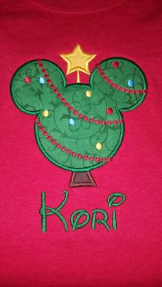 Appliqued and embroidered Christmas tree shirt customized with name. #ChristmasTree #Christmas #mouse #MerryChristmas #yourideaembroidered #customembroidery #JuliesEmbroideryCreations #RiverviewFloridaEmbroidery