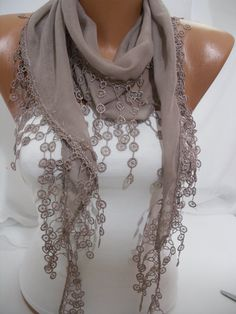 Women  BeigeNougat Color Cotton Scarf  Headband  Cowl by DIDUCI, $14.50