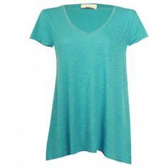 American Vintage Jacksonville V Neck Short Sleeve T-shirt in Oasis Blue
