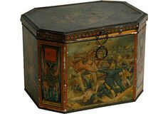 Tole biscuit box with battle scene