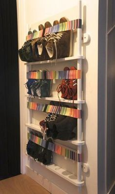 Organizing Shoe rack design with creative uses Diy shoe storage, entryway shoe storage, closet shoe Entryway Shoe Storage, Closet Shoe Storage, Diy Shoe Rack, Living Room Storage, Bedroom Storage, Diy Storage, Entryway Ideas, Entrance Ideas, Modern Entrance