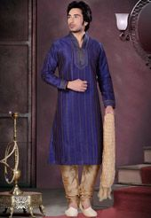 Indigo Blue Brocade Readymade Kurta with Churidar