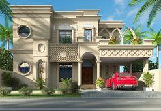 90x50 4 Bedroom House Designs, Bungalow House Design, House Front Design, Front Elevation Designs, House Elevation, Classic House Design, Modern House Design, Islamic Architecture, Architecture Design