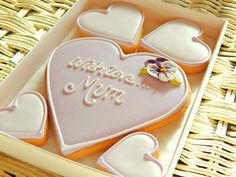 Mother's Day Cookies, Cookie Decorating, Mothers, Sugar, Baking, Board, Desserts, One Day, Food Cakes
