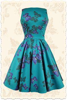 Robe rétro courte baby doll Tea papillons violet bleu canard - Toutes les robes/Robes évasées - Lady Vintage - missretrochic.com