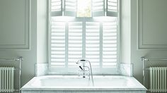 Our plantation shutters are made to measure for all interior windows. Our plantation shutters come in a range of different styles. Victorian Bathroom, Interior Windows, Window Dressings, Bathtub, Curtains, Shower, House, Bathrooms