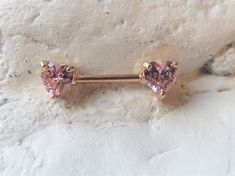 Jewelry OFF! Rose GoldPink Hearts czs Surgical Steel Nipple one) Tattoo Und Piercing, Piercing Ring, Cute Piercings, Body Piercings, Tongue Piercings, Cartilage Piercings, Percing Teton, Belly Button Piercing Jewelry, Cartilage Jewelry