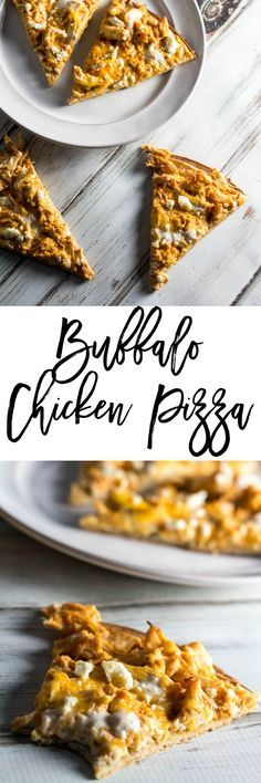 Buffalo Chicken Pizza - A healthier recipe alternative when you are craving a different kind of pizza. It's only 5 SmartPoints per slice on Weight Watchers. http://dashofherbs.com/buffalo-chicken-pizza/