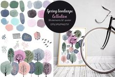 Spring landscape collection by Tatiana_davidova on @creativemarket