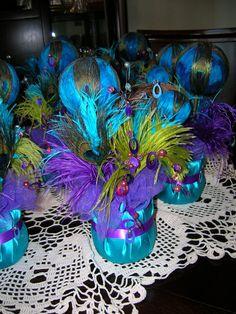 Peacock Wedding Reception Table Centerpiece. $30.00, via Etsy.