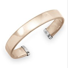 14 Karat Rose Gold Plated Stainless Steel Omega Style Cuff Bracelet
