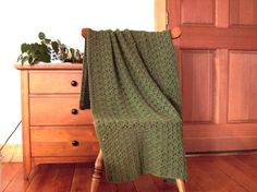 Crocheted Blanket, Throw Blanket, Crocheted Afghan  Forest Green, Sage green, 55x40 inches Handmade, Many colors in shop