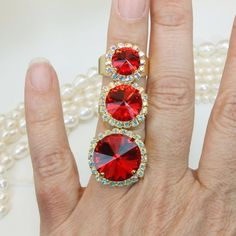 Red Cocktail Ring Red Bridal Crystal Set Red Swarovski Crystal Jewelry Set Adjustable Ring Valentine's Gift AB Halo Rivoli Cut,Gold,GR48