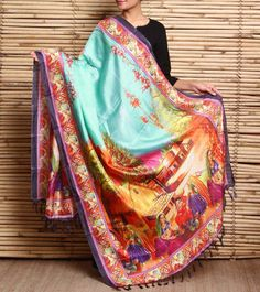 Multicoloured Digitally Printed Silk Dupatta