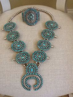 Zuni style turquoise cluster Squash Blossom Necklace  & Cuff by Navajo artist Larry Moses Begay