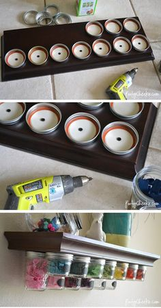 This is completely brilliant. Simple, too. Get a shelf, drill lids into the bottom of the shelf, screw on the jars, hang. Sounds brilliant for a spice rack and for crafting supplies -- beads, hell yeah. Ooo and for hair gadgets...somanywants.