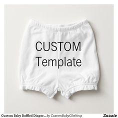 Custom Baby Ruffled Diaper Bloomers Diaper Cover WHITE