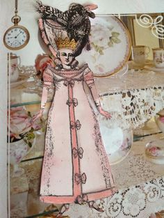 Time To Blush. I created this art paper doll with Character Constructions stamps.  Christy Hawkins.