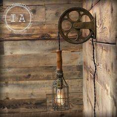 Vintage Industrial Cast Iron Pulley Wire Cage Trouble Lamp Wall Mount Light in Home, Furniture & DIY, Lighting, Wall Lights | eBay